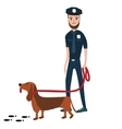 police officer cop with trained dog vector image