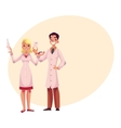 Dentist holding big tooth plus anesthetist with vector image