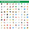 100 motorsport icons set cartoon style vector image
