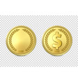 3d realistic golden metal coin icon set vector image