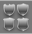 3d shiny metallic shield icons and badges set vector image vector image