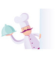a funny italian chef with blank board vector image vector image