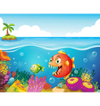 A sea with colorful coral reefs and fishes vector image vector image