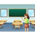 A teacher inside the empty classroom vector image vector image