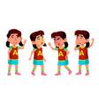 asian girl kindergarten kid poses set baby vector image vector image
