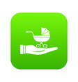 baby pram protection icon digital green vector image vector image
