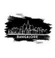 bangalore india skyline silhouette hand drawn vector image vector image