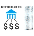 Bank Structure Icon with Flat Set vector image vector image