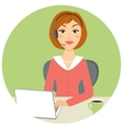 Beautiful call center woman vector image