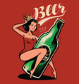 beautiful girl with a bottle beer drawn in pin vector image