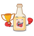 boxing winner bottle apple cider above cartoon vector image vector image