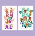 brazilian carnival character typography poster set vector image vector image