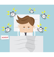 businessman lazy in bed on monday morning vector image vector image