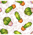 cactus and succulents seamless pattern vector image vector image