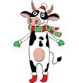 christmas cow vector image