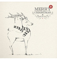 Christmas hand drawn unique reindeer vector image vector image
