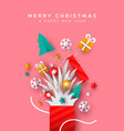 christmas new year holiday paper cut gift box card vector image vector image