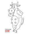 coloring page cartoon cow is standing smiling vector image