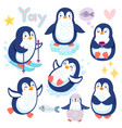 cute penguins skiing having fun drinking tea vector image vector image