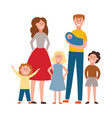 flat happy extended family stands together vector image vector image