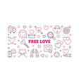 free love outline horizontal vector image