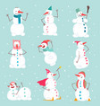 funny emotional snowmen characters set in vector image vector image
