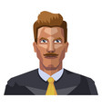 guy in a suite wiyh mustaches on white background vector image vector image