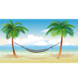 hammock and palm trees on beach vector image vector image