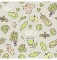 Hand drawn green vegetables seamless pattern in