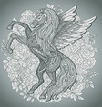 Hand drawn Pegasus mythological winged horse on vector image