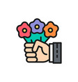 hand holds flowers magic trick with floral vector image vector image