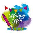 happy holi garland pichkari and watercolor splash vector image vector image