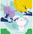 happy mid autumn festival little rabbit flowes vector image vector image