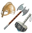 Historical weapons axe hammer and helmet vector image vector image