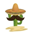 mexican cactus character with hat and mustache vector image vector image