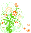 of a floral background with butterflies vector image