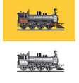 old locomotive or train on railway retro vector image