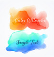 orange and blue watercolor ink stain background vector image vector image