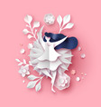 papercut spring flower and woman pink background vector image vector image