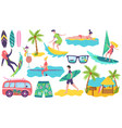 people surfing on summer vacation set stickers vector image