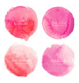 pink watercolor circle set on white background vector image vector image