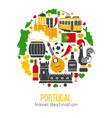 portugal traditional objects collection in circle vector image