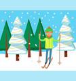 postcard winter activity man skiing vector image