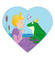 princess kissing a frog with crown vector image vector image