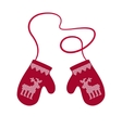 Red Winter Warm Mittens vector image vector image