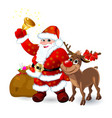 santa with bell and reindeer vector image vector image