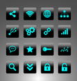 set cyan icons - technology web and business vector image vector image