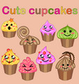 set of cute sweet icons in kawaii style with vector image
