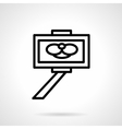 Simple line selfie stick icon vector image vector image