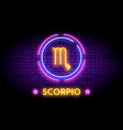 the scorpio zodiac symbol in neon style on a wall vector image